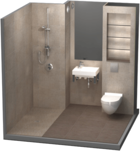 Lightweight concrete bathroom pod rendering