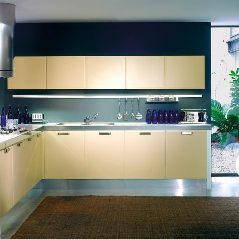 High-level apartment prefabricated L-shaped kitchen version 1